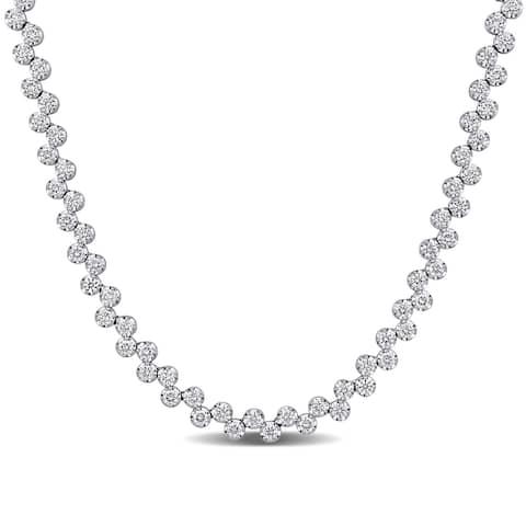 Miadora 14k White Gold 11 1/10ct TW Diamond Tennis Necklace - 17 inch x 6 mm x 3.3 mm
