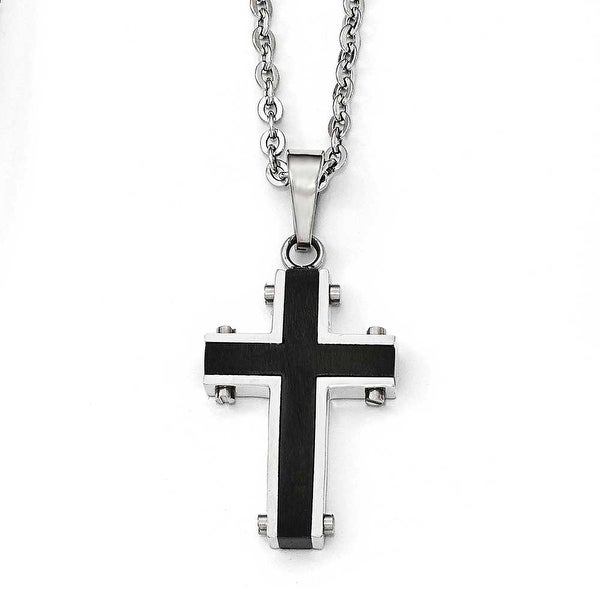 Chisel Stainless Steel Polished Black IP-Plated Cross Necklace - 22 in