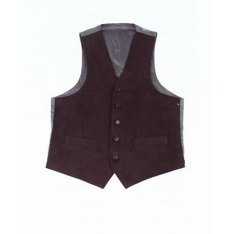 Lauren by Ralph Lauren Mens Vest Red Size Medium M Faux-Suede 5-Button