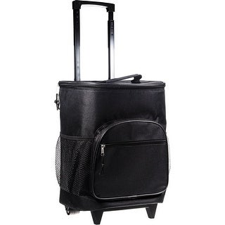 Palais Dinnerware Insulated Rolling Cooler With Wheels and Retractable Handle With Zippered Pockets Black