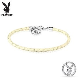 Multi Paved Gemmed Playboy Bunny Round Logo Braided Leatherette Bracelet (10 mm) - 7.25 in