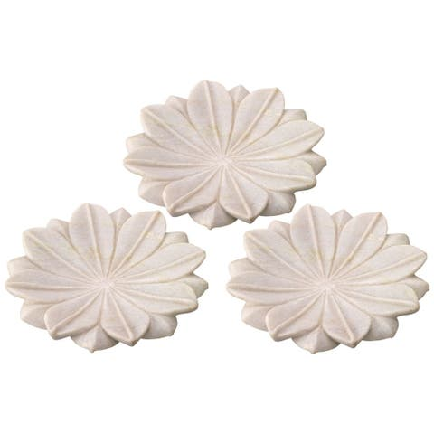 """Set of 3 Medium White Lotus Marble Plate Table Top Decorations 9"""""""