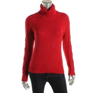 Lauren Ralph Lauren Womens Cable Knit Raglan Sleeves Turtleneck Sweater - S