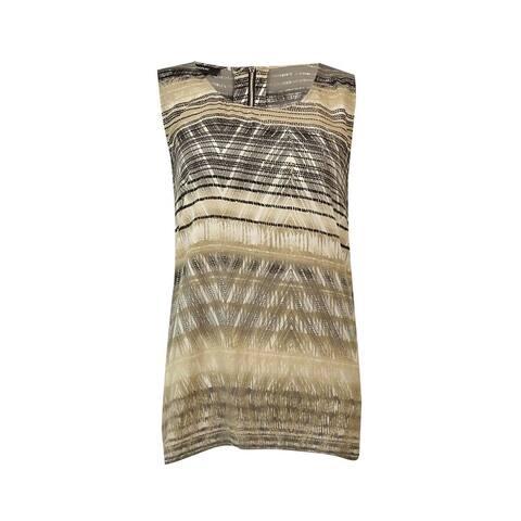 Alfani Women's Geo-Print Handkerchief Hem Blouse - Textured Diamond - 12