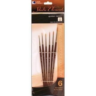 Studio Elements Golden Taklon Brush Set-6/Pkg - GOLD