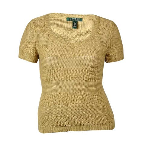 Lauren Ralph Lauren Women's Knit Short Sleeve Sweater - Khaki