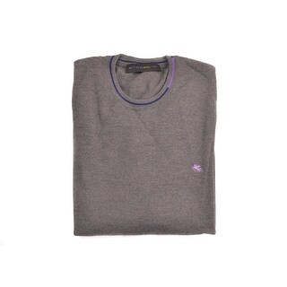 Etro Brown Pure Wool Duo Tone Border Crew Neck Sweater