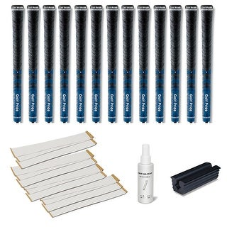 Golf Pride New Decade Multicompound (MCC) Midsize Blue - 13 pc Golf Grip Kit (with tape, solvent, vise clamp)