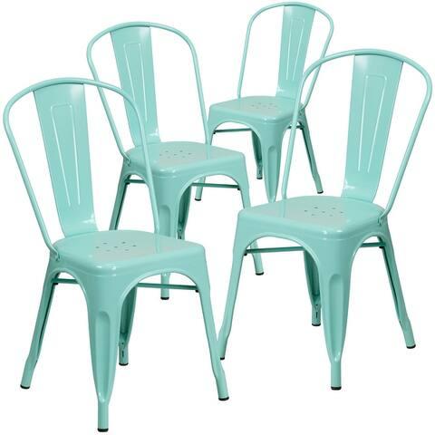 Metal Indoor/Outdoor Stackable Bistro Chair (Set of 4)