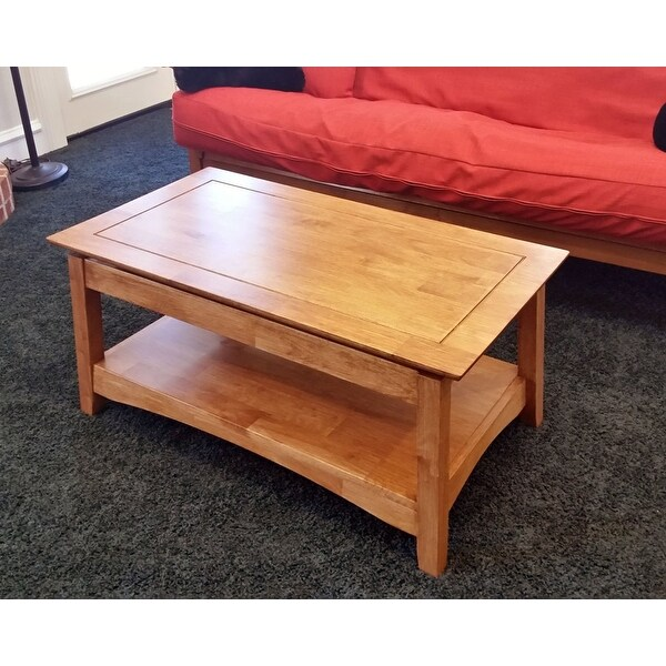 Unfinished Solid Parawood Ay Tall Lift Top Coffee Table Free Shipping Today 9363042