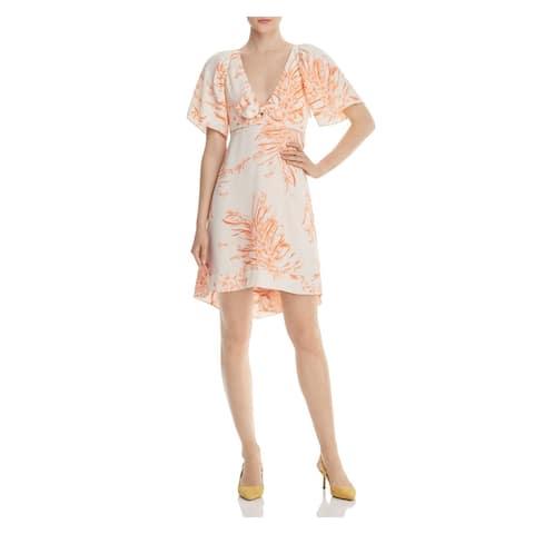 JOIE Womens Pink Printed Short Sleeve Knee Length Hi-Lo Dress Size 0