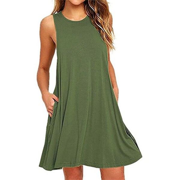 Summer Beach Dresses For Women Tank Top Bikini Swimwear Cover Up Plain  Pleated Loose 3fd88e3dc
