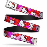Hello Kitty Face Fcg White Bo Chrome Hello Kitty Pink Red Bowtie Web Belt