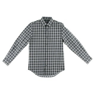Perry Ellis Mens Plaid Cotton Button-Down Shirt - XXL