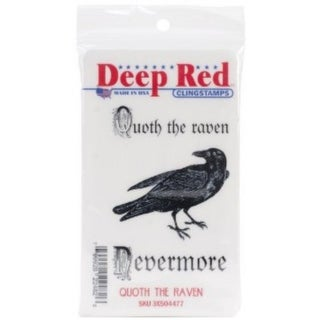 Deep Red Stamps Quoth the Raven Rubber Cling Stamp - 2 x 3.2