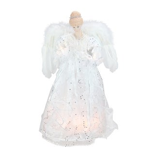 """16.75"""" Lighted White and Silver Sequin Angel Christmas Tree Topper - Clear Lights"""