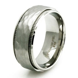 Stainless Steel Hammered Finish Inlay w/ Grooved Edges Ring