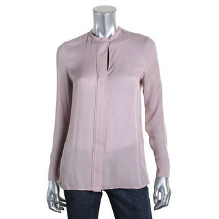 Vince Womens Juniors Silk Long Sleeves Blouse - 4