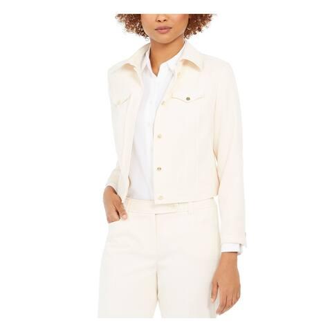 ANNE KLEIN Womens White Jacket Size 8