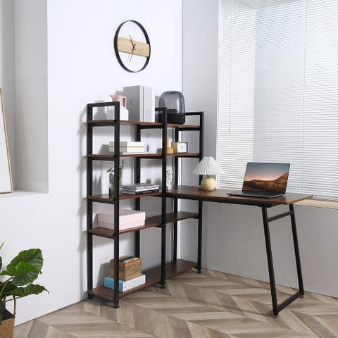 HOMCOM 5 Tier Versatile L-Shaped Computer Desk Writing Table with Display Shelves and Metal Frame, Space-Saving, for Study Room