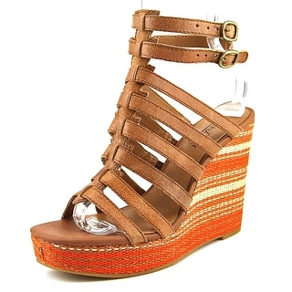 Lucky Brand Labelle Women Open Toe Leather Brown Wedge Sandal