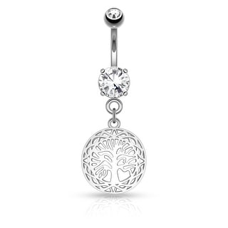 "Filigree Edge Tree of Life Dangle on Round CZ Surgical Steel Navel Ring-14GA-3/8"" Length (Sold Ind.)"