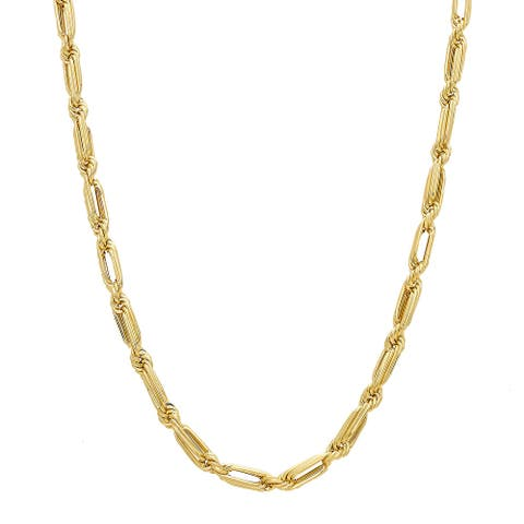 """Baguette Rope Chain Necklace in 10K Gold, 22"""" - Yellow"""