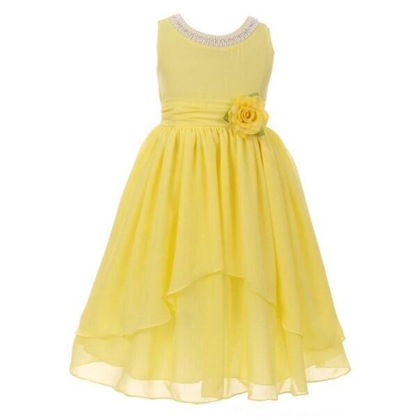 0c90043f49bb2 Shop Kiki Kids Girls Lemon Chiffon Beaded Neckline Flower Girl Dress - Free  Shipping On Orders Over $45 - Overstock - 18173346