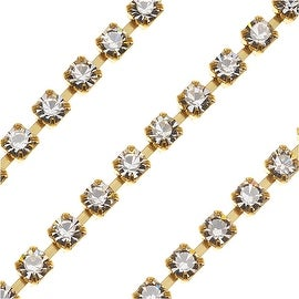 Czech Crystal Brass Rhinestone Cup Chain 18PP Crystal (By The Foot)