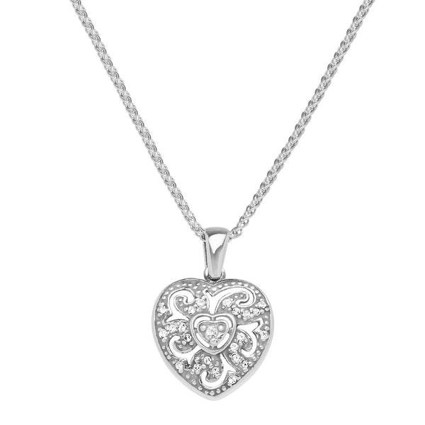 Van Kempen Art Nouveau Heart Pendant with Swarovski Elements Crystals in Sterling Silver - White