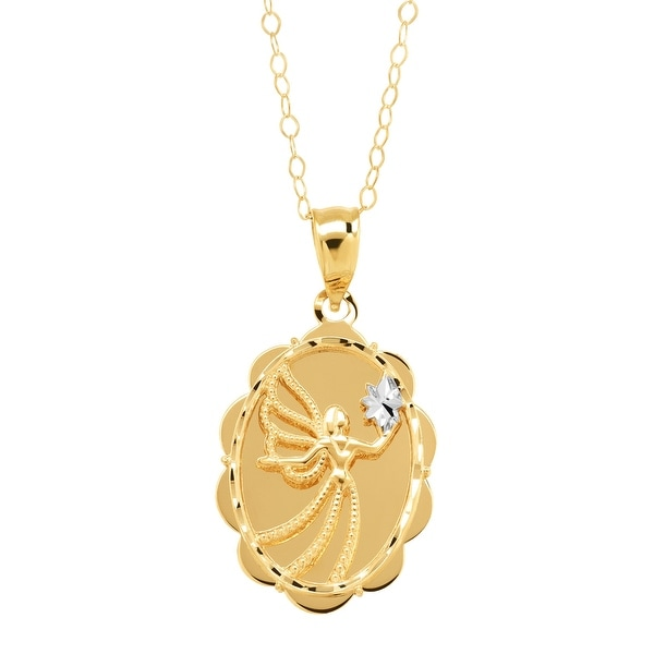 Eternity Gold Scalloped Angel 'Always By Your Side' Pendant in 10K Gold