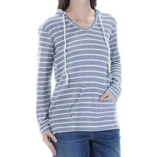 STYLE & COMPANY Womens Navy Tie Hooded Striped Long Sleeve V Neck Top Petites Size: S