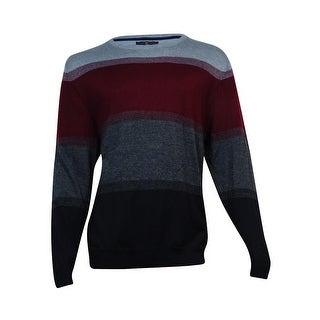 Club Room Men's Stripe Merino Wool Blend Sweater (Plum Combo, XXL) - plum combo - XxL