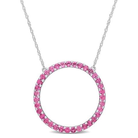 Miadora 10k White Gold Pink Tourmaline Circle of Life Birthstone Necklace - 25.6 mm x 17 inch x 25.6 mm