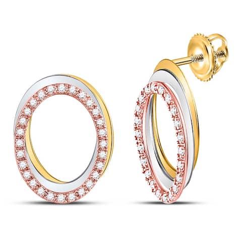 10k Tri-Tone Gold 1/5 Carat Round Diamond Oval Stud Earrings for Women