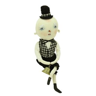 """15"""" Gathered Traditions """"Quincy"""" Snow Boy Decorative Christmas Figure with Dangling Legs"""