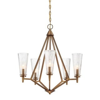 """Designers Fountain 88985-OSB Montelena 25"""" Wide 5 Light Chandelier with Clear Ribbed Glass"""