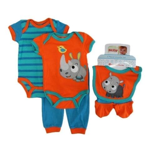 Nuby Baby Boys Orange Boy Bodysuits Pant Bootie Bib 5 Pc Layette Set