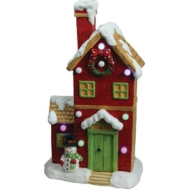 """21"""" Christmas Morning Pre-Lit LED Snow Covered House Decorative with Snowman Christmas Tabletop Figure"""
