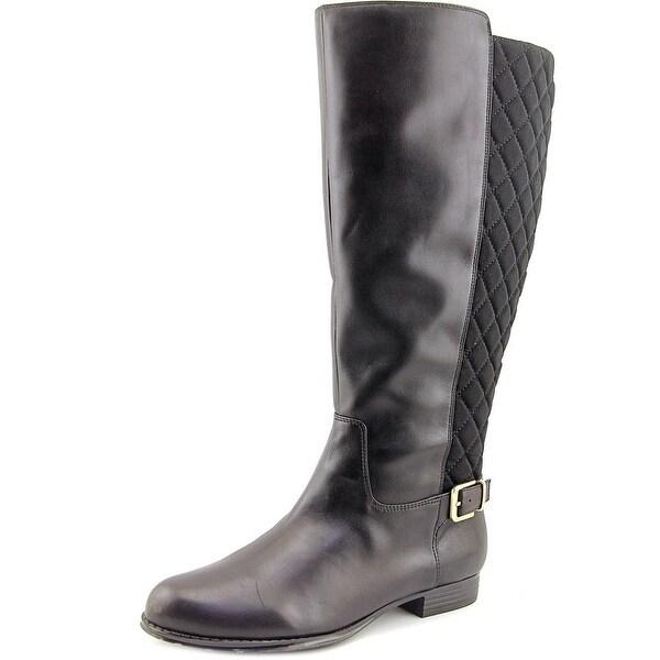 Isaac Mizrahi Tally Wide Calf   Round Toe Leather  Knee High Boot