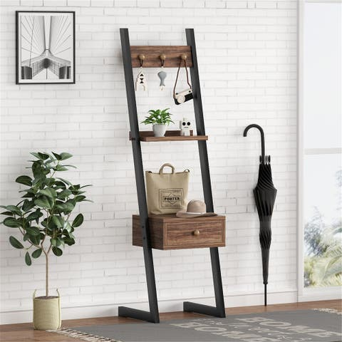 Tall Nightstand with Drawer, Hall Tree Bedside Table
