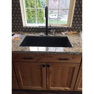 Kraus KGU-413B Undermount 31-in 1-Bowl Granite Kitchen Sink, Black Onyx, Strainer, Towel