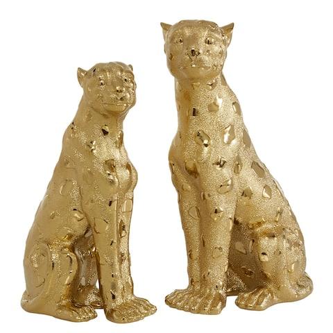 Gold Resin Leopard Figurine, Set Of 2 - 4 x 8 x 12