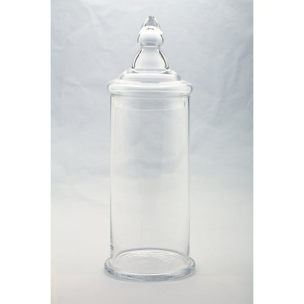 "19"" Clear Cylindrical Shaped Glass Jar with Finial Lid - N/A"