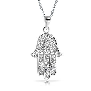 .925 Sterling Silver Filigree Hamsa Pendant CZ Necklace 18 Inch