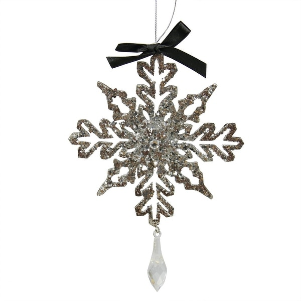 """7"""" Silver Glitter Drenched Snowflake with Key Hole Tips Christmas Pendant Ornament"""
