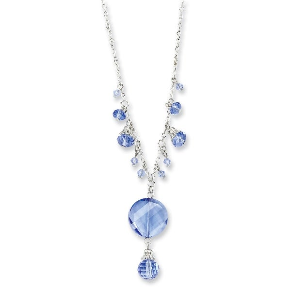 Silvertone Light Blue Crystal Drop Necklace - 16in
