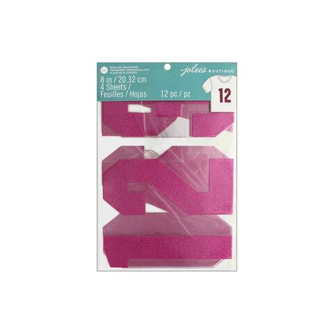 "EK Jolee's Iron On Transfer 8"" Number Gltr Pink"