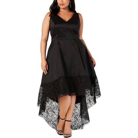 Betsy & Adam Womens Plus Formal Dress Taffeta V-Neck