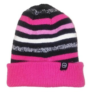Free Country Girls Reversible Striped Slouchy Cuffed Beanie Pink OS - One size